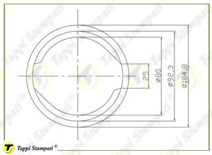 Bocchettone di riempimento a baionetta interna passaggio 80 mm_disegno