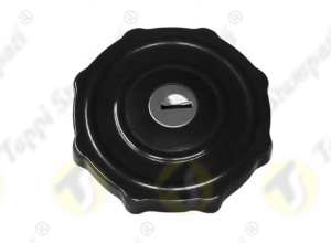 GR black painted tank cap with key, internal bayonet coupling passage diameter 40 mm, in steel and stainless steel