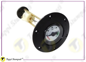 Fixed mechanical fluid level gauge to be screwed, with black pointer and 4 colors dial