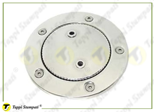 NTC tank cap and flanged deck filler, bayonet coupling passage diameter 40 mm in stainless steel with safety chain