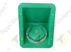 Green flush-mount plastic niche for connection to fuel flexible hose Ø 60 mm with green D.76 bayonet tank cap with key in plastic and steel