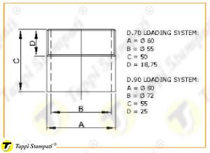 Sistema di carico filettato passaggio 55-72 mm per tappi serbatoio D.70 e D.90_disegno