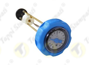 Blue mechanical level gauge cap, bayonet coupling passage diameter 40 mm, with blue pointer and 2 colors dial