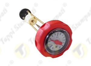 Red mechanical level gauge cap, bayonet coupling passage diameter 40 mm, with red pointer and 2 colors dial