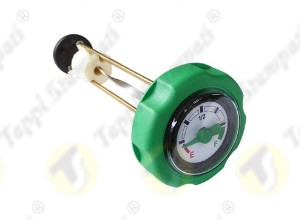 Green mechanical level gauge cap, bayonet coupling passage diameter 40 mm, with green pointer and 4 colors dial