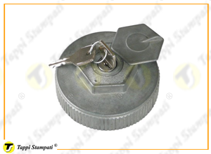 M80X2 female threaded tank cap with key in aluminium material, equipped with lock protection door