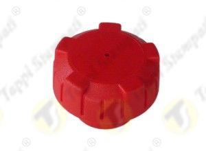 P3 red vented tank cap in plastic material, female threaded, passage diameter 32 mm