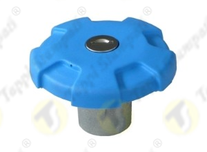 Blue D.76 bayonet tank cap with key passage diameter 40 mm in plastic and steel