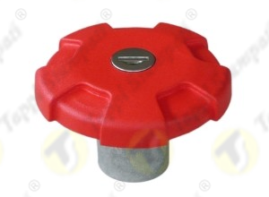 Red D.76 bayonet tank cap with key passage diameter 40 mm in plastic and steel