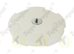 D.96 white tank cap with key bayonet coupling passage diameter 40 mm in plastic and steel