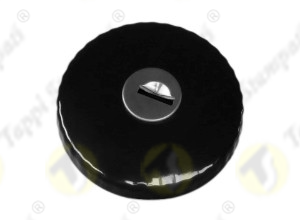 TED black painted tank cap with key, internal bayonet coupling passage diameter 30 mm, in steel and stainless steel